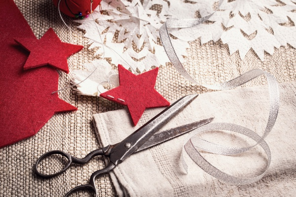 Vintage scissors and handmade holiday decorations
