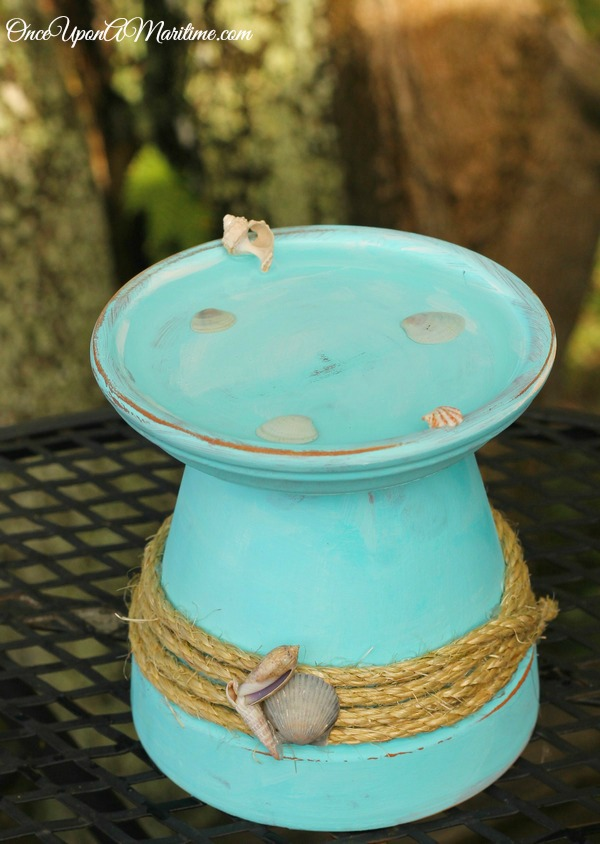 Upcycling Ideas Coastal Beach Mini Bird Bath