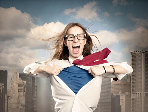 woman like a superhero