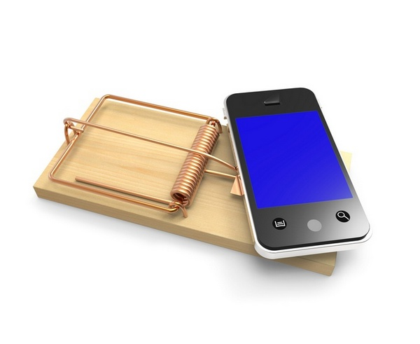 Smartphone on mousetrap