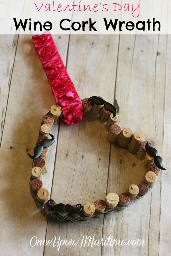 Wine Cork Heart Wreath Diy Valentines Day Craft Decor
