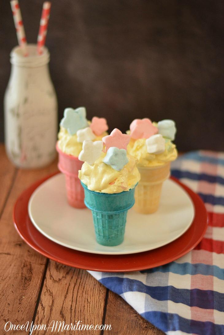 Patriotic Dessert Cones - No Bake Summer Treats